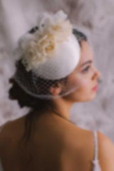 Silk cocktail hat millinery birdcage veil for bride
