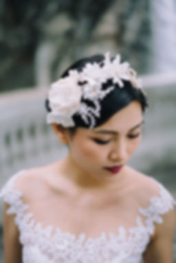 Bridal headband,  新娘頭飾, silk flower milliinery, lace headpiece