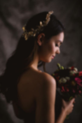 Gold lilies vine headband bridal headpiece