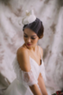 3D bow silk cocktail hat with birdcae veil for bride