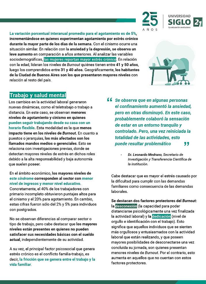 Sindrome deBurnout y coronavirus segun S