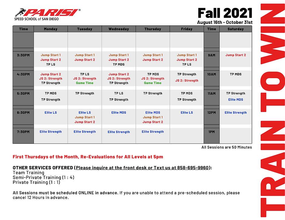 August Schedule 2021