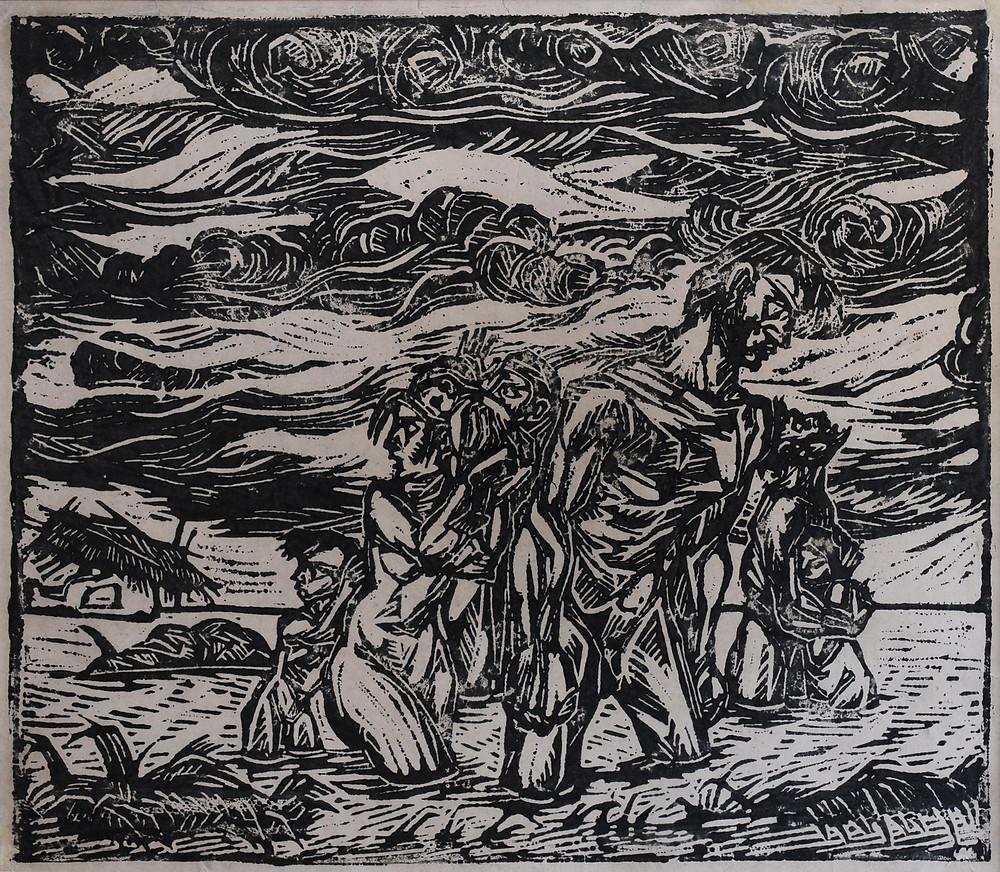 Flood Victims, woodcut by Chittaprosad Bhattacharya