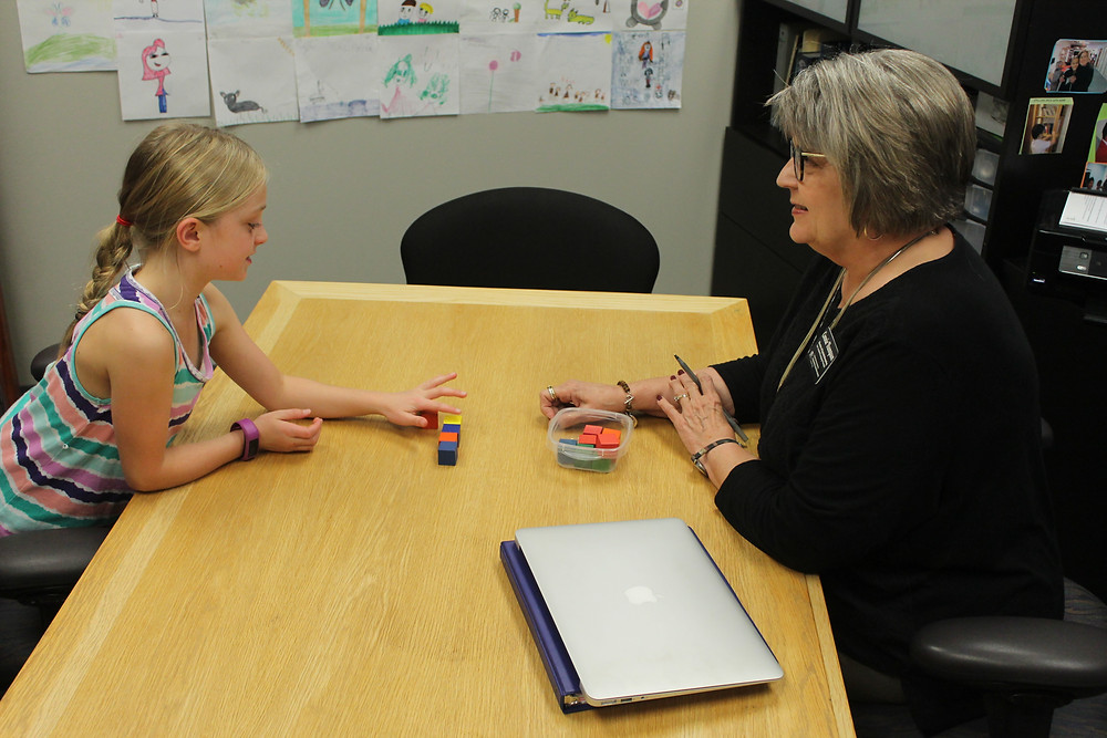 Ruby's dyslexia screening with FLC's Connie.