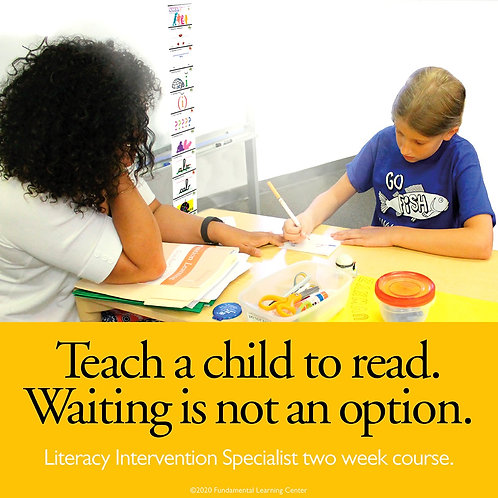 Literacy Intervention Specialist Introductory Course, June 7 - 18, 2021