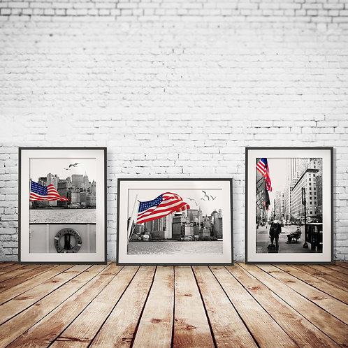 New York set of 3 black & White
