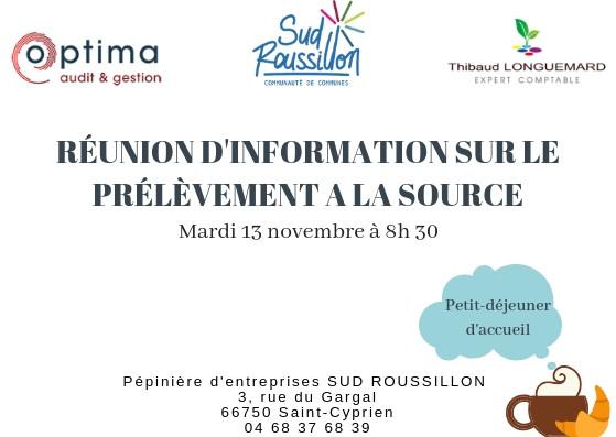 La Pépinière d'entreprises Sud Roussillon et le cabinet Thibaud Longuemard nous accueillent chaleureusement avec un petit-déjeuner! Ce sera l'occasion de rencontrer d'autres chefs d'entreprise et de répondre à vos questions.