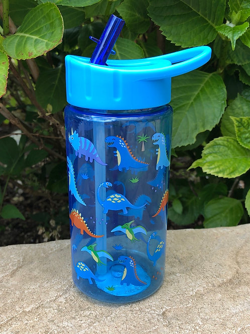 Blue Dinosaur Water Bottle With Straw