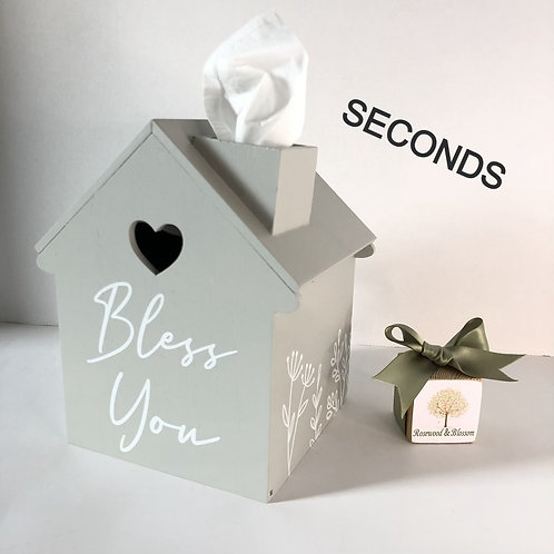 SECONDS Wooden Bless you House Tissue Holder