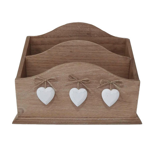 Wooden Hearts Letter Rack