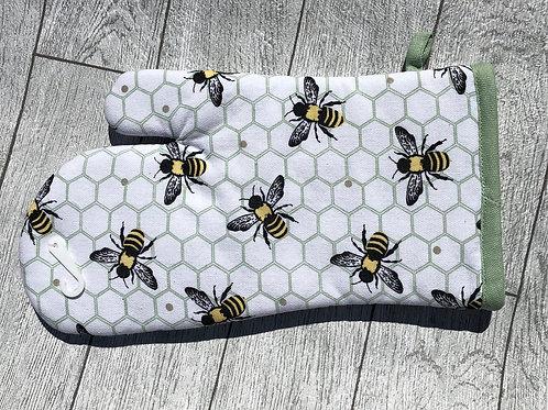 Honey Bee and Honeycomb Green Trim Cotton Single Oven Glove Mitt