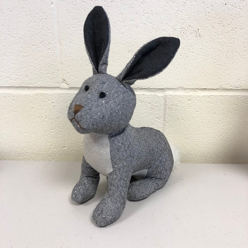Herringbone Grey Pattern Bunny Doorstop