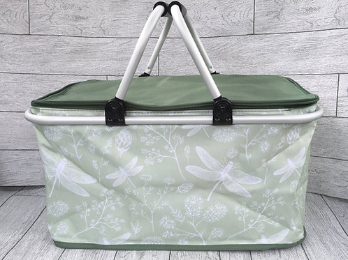 Green and White Deagonfly Design Folding Picnic Hamper / Basket