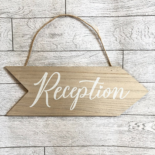 Wedding Reception Direction Arrow Hanging Sign