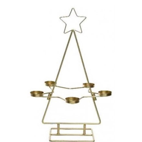 Gold Iron Star Tea Light Holder