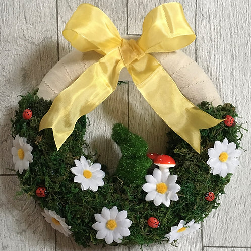 Bespoke Easter Bunny and Daisy Moss Wreath