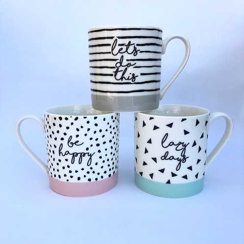 Set of 3 Positive Quote Mugs