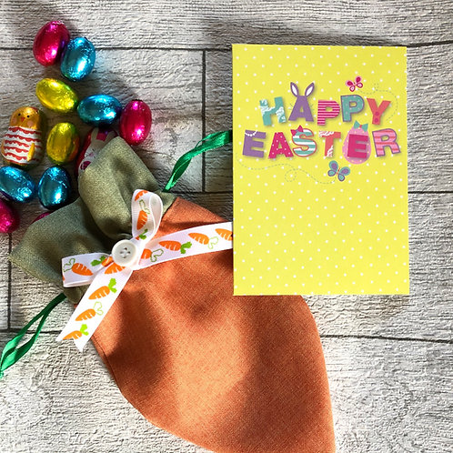 Easter Carrot Fabric Treat Bag with Free chocolates