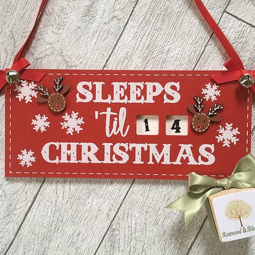 Red and White Reindeer Sleeps til Christmas Sign