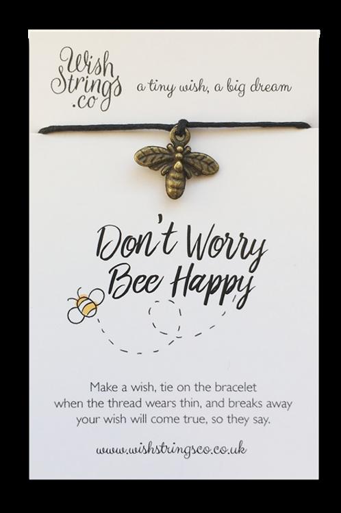 Wishstrings Don't Worry Bee Happy Bracelet & Free Birthday Card