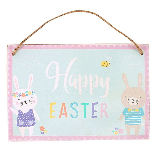 Hanging Wooden Happy Easter Sign