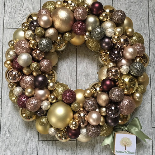 Mixed Gold, Rose gold and pink Bauble Wreath