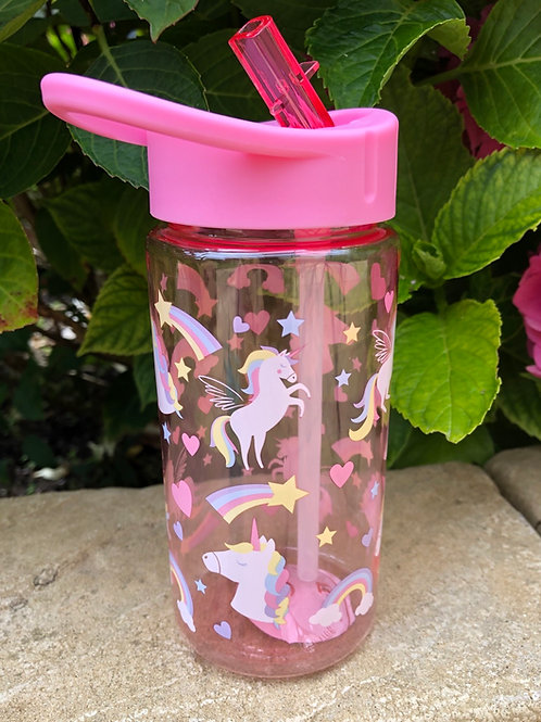 Pink Unicorn and Rainbow Water Bottle