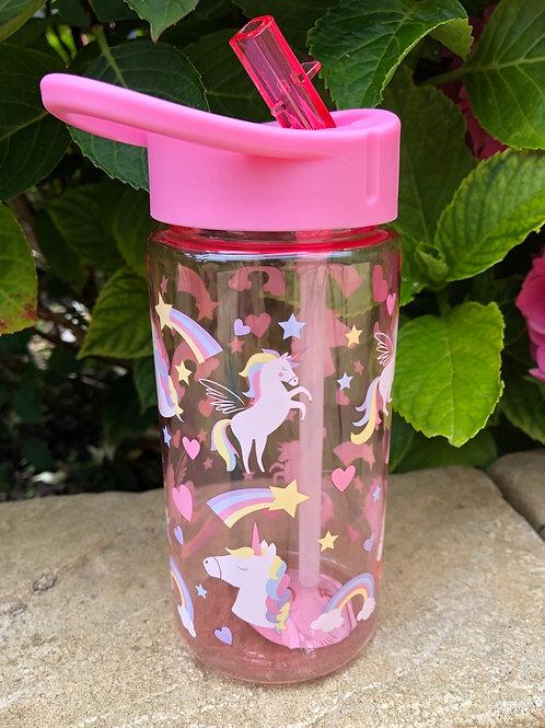 Pink Unicorn and Rainbow Water Bottle
