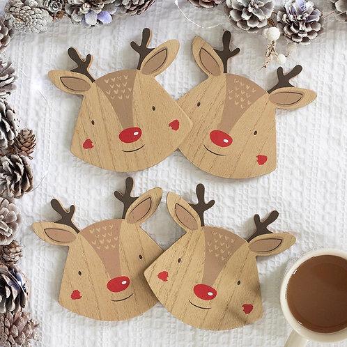 Set of 4 Reindeer Coasters