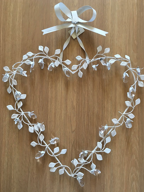 Cream Metal Hanging Heart