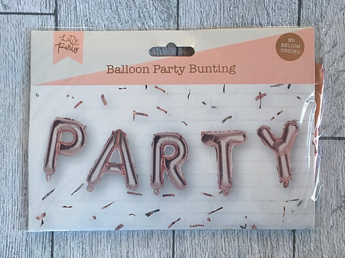 Rose gold PARTY Balloon Bunting No Helium Required