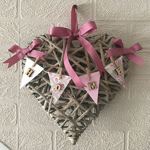 Willow Heart Buntting Home Wreath