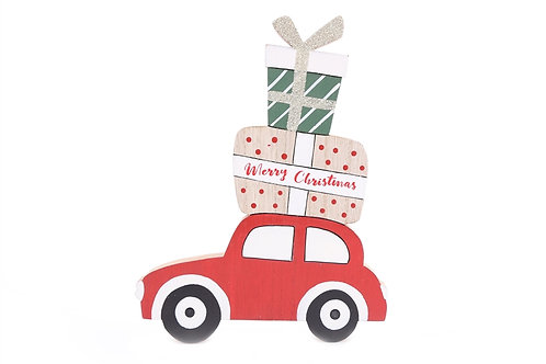 MDF Car With Presents Stack Decoration