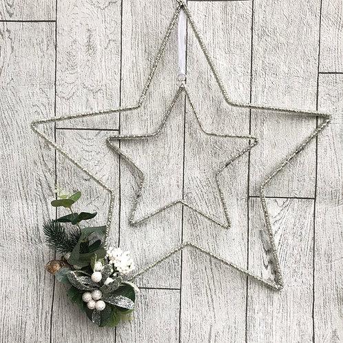 Handmade Silver Sparkling Star Wreath