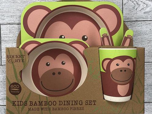 Monkey Bamboo Children's Dinner Set