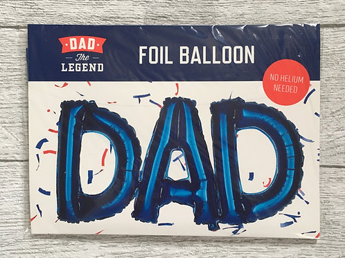 """""""DAD"""" BLUE  Foil Balloon ( No Helium Needed )"""
