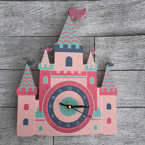 Wooden Pink Castle Wall Clock