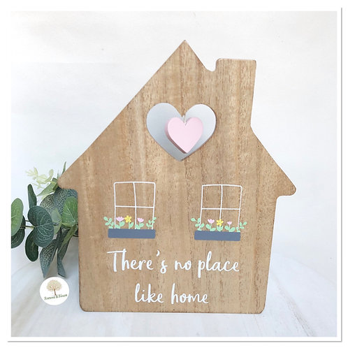 Wooden 'There's no place like home' House Ornament