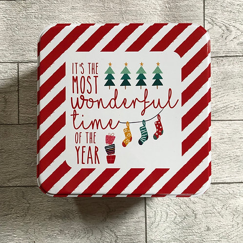 Red and White Square Christmas Storage Tin