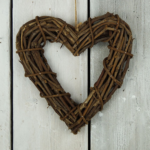 Rattan Heart Wreath 32cm