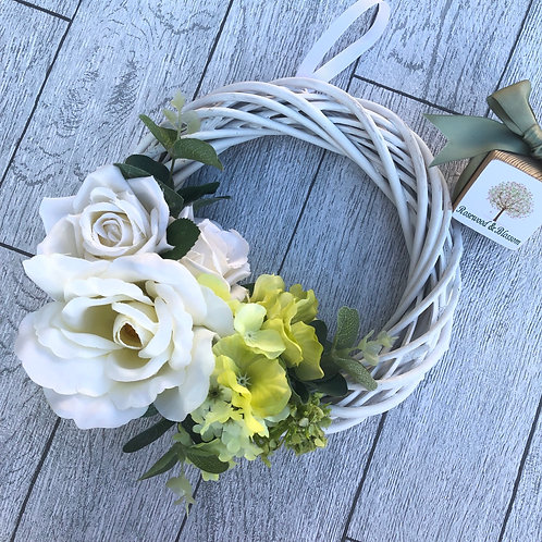 White and Pale Green Floral Artificial Door Willow Wreath