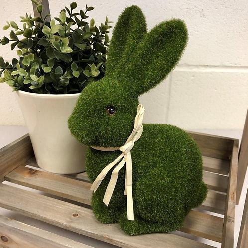 Green Flocked Sitting Bunny Rabbit Decoration