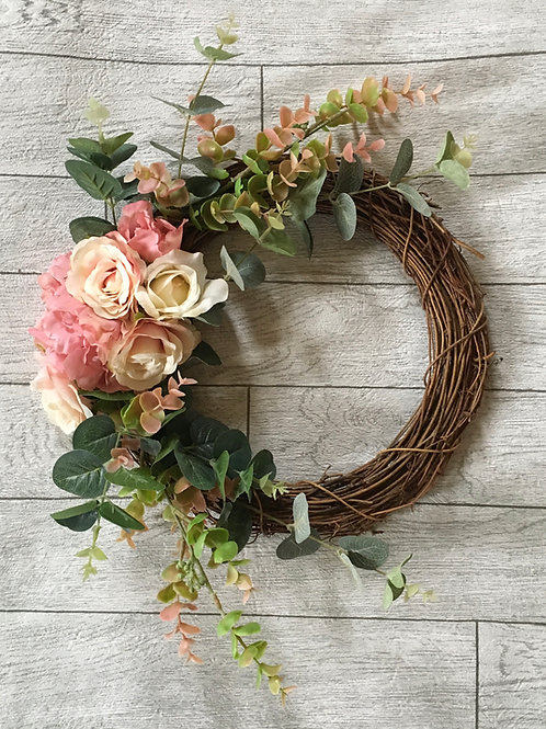 Bespoke Blush Pink Floral Artificial Wreath