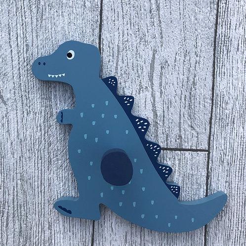 Wooden Blue Dinosaur Wall Hook