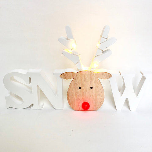 Rudolph Snow Sign with LED Lights