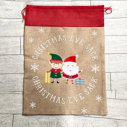 Boy Elf and Santa Christmas Eve Sack