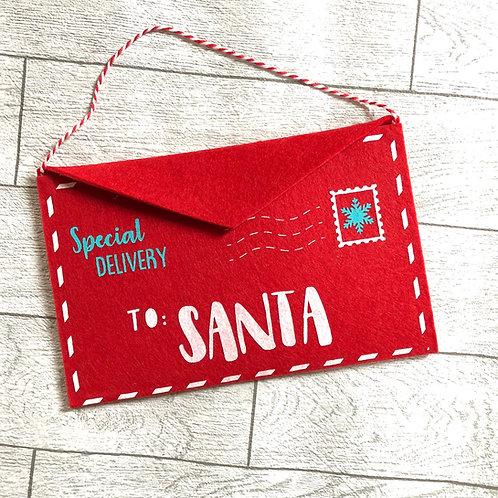 Red Felt Letter to Santa Envelope