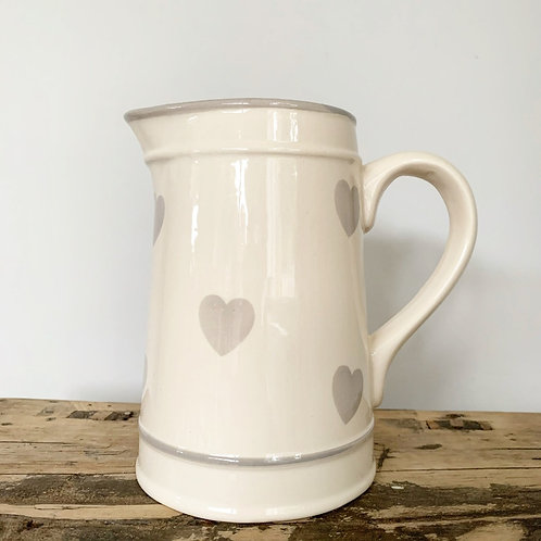 Ceramic Jug with Faded Heart Decail