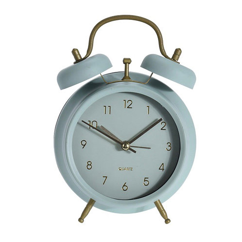 Retro Pastel Green and Gold Modern Twin Bell Alarm Clock