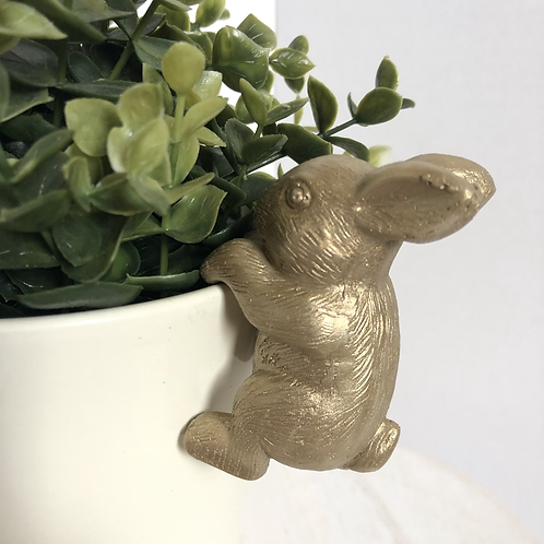 Gold Bunny Rabbit Plant Pot Hugger